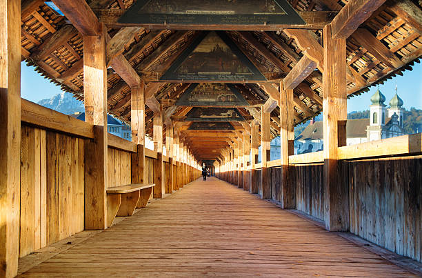 lucerne switzerland chapel bridge interior with paintings - lucerne stock pictures, royalty-free photos & images
