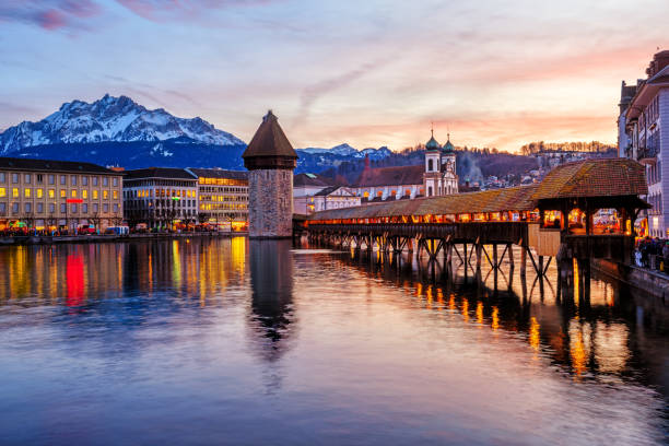 Lucerne, Switzerland, historical Old town on dramatical sunset stock photo