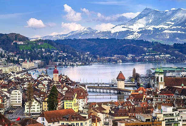 Lucerne, Switzerland, view of old town and Alps mountains Lucerne, Switzerland, aerial view of the old town, lake Lucerne and Rigi mountain swiss alps stock pictures, royalty-free photos & images