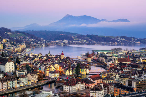 lucerne town, lake lucerne and rigi mountain, switzerland - lucerne stock pictures, royalty-free photos & images
