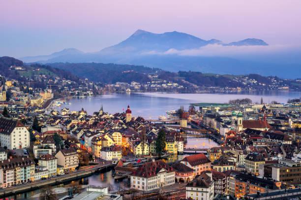 Lucerne town, Lake Lucerne and Rigi Mountain, Switzerland stock photo