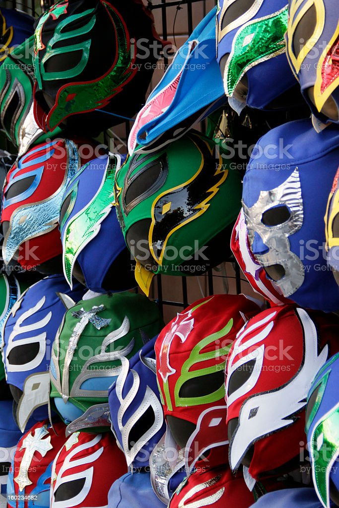 Lucha Libre Mexican Wrestling Masks stock photo