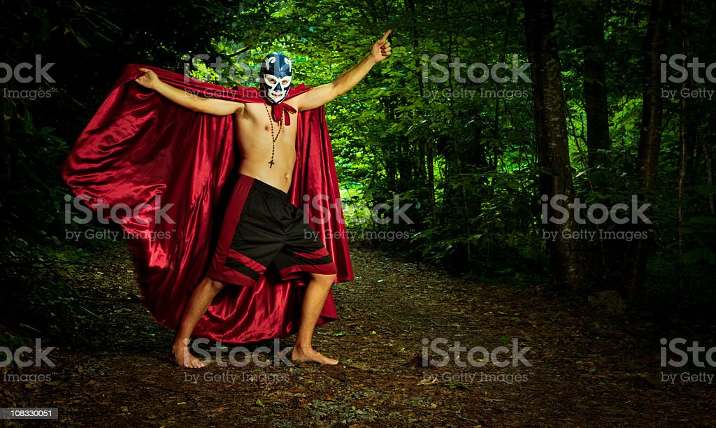 lucha libre wrestler in the woods stock photo