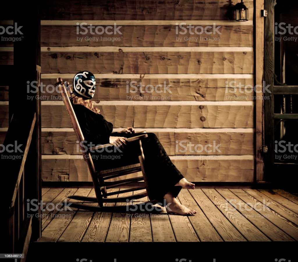 lucha libre wrestler wife waiting in the porch royalty-free stock photo