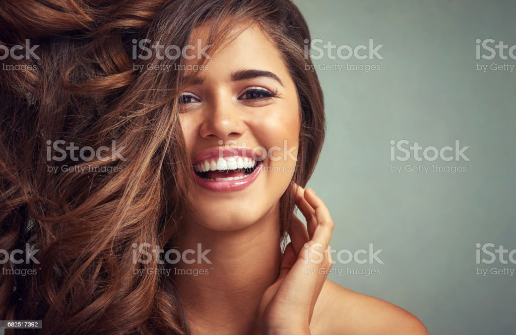 Lucious locks and happy laughter Стоковые фото Стоковая фотография