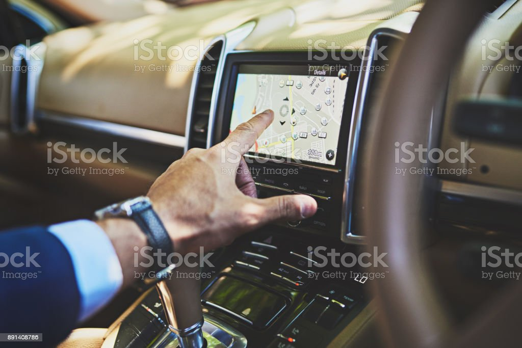 Luckily finding a location is as easy as pressing a button stock photo