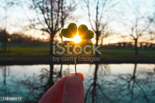 istock Lucky charm magic four-leaf clover 1191635117