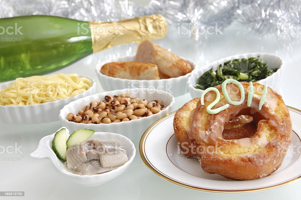 Lucky Foods for New Year's Day 2011 royalty-free stock photo