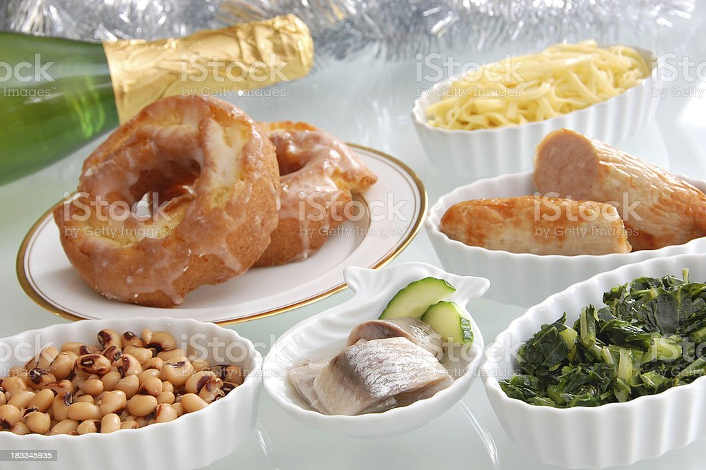 Lucky Foods for New Year's Day royalty-free stock photo