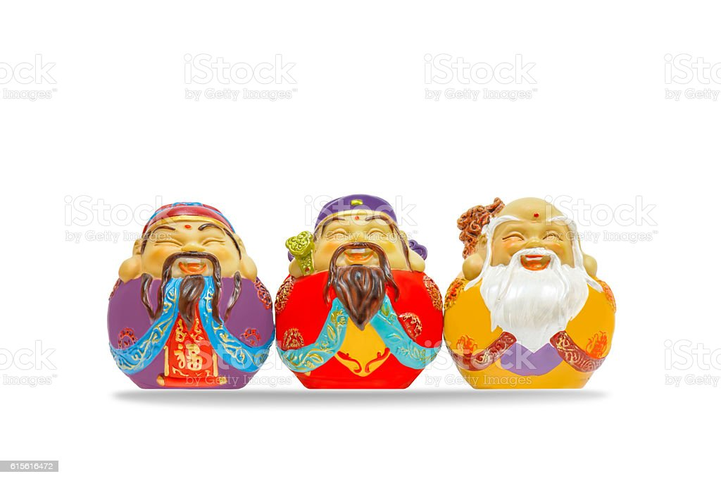 3 lucky gods of chinese smiling stock photo