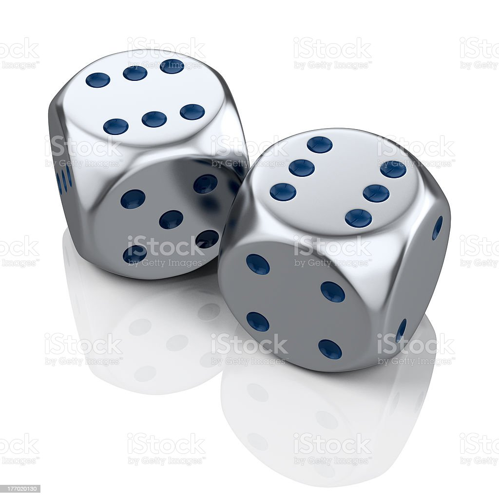 lucky metal dices stock photo