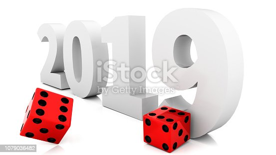 istock lucky new year die dice red 2019 luck gabling casino - 3d rendering 1079036482