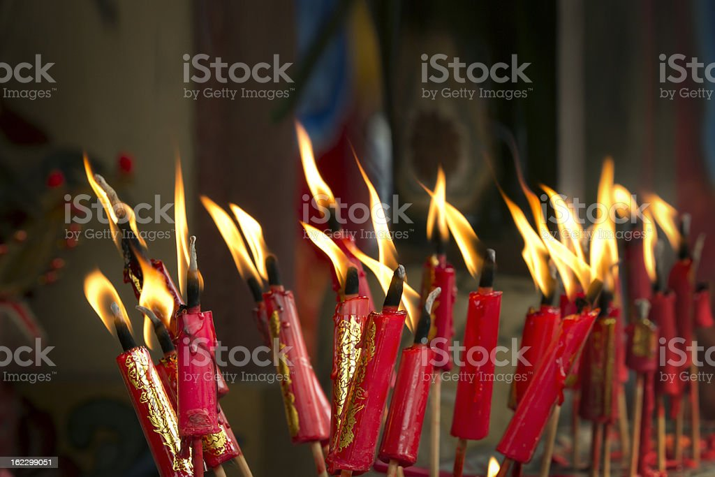 Lucky red candles on chinese new year day in temple royalty-free stock photo