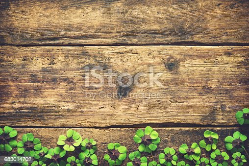 istock Lucky shamrock. St.Patrick's day background 683014702