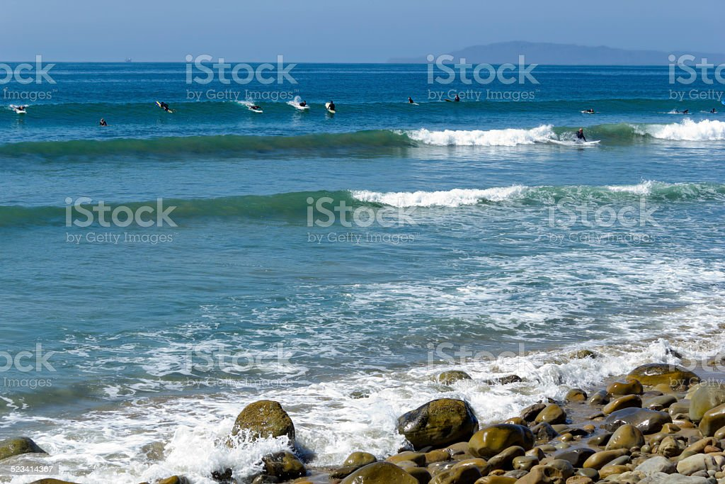 Lucky Surfer Waves stock photo