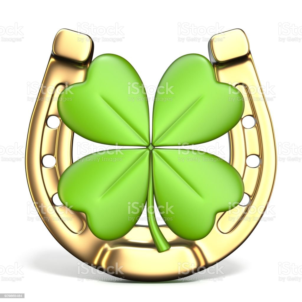 Lucky symbols horse-shoe and four-leaf clover Front view 3D stock photo