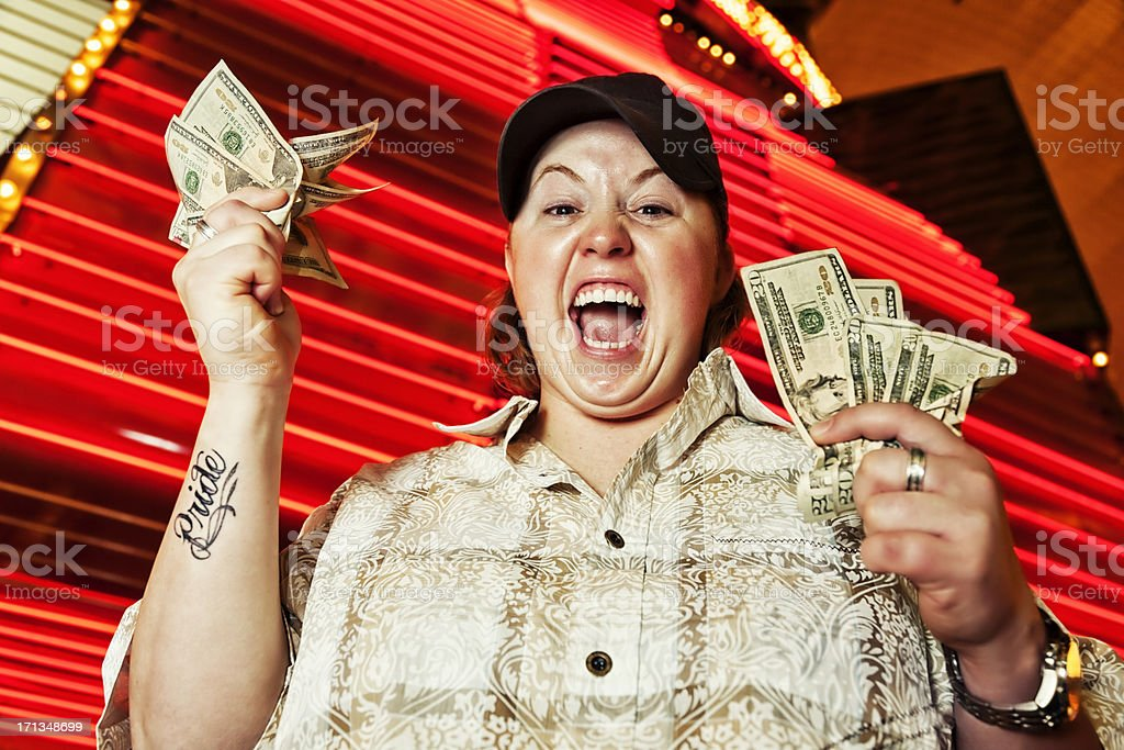 Lucky Winner with Cash royalty-free stock photo