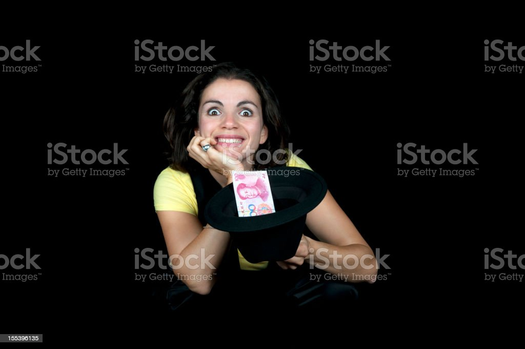Lucky Woman with Chinese Banknote royalty-free stock photo