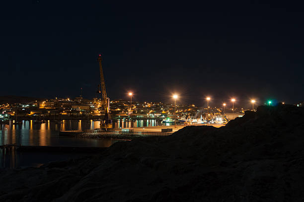 Luderitz harbor and town at night stock photo