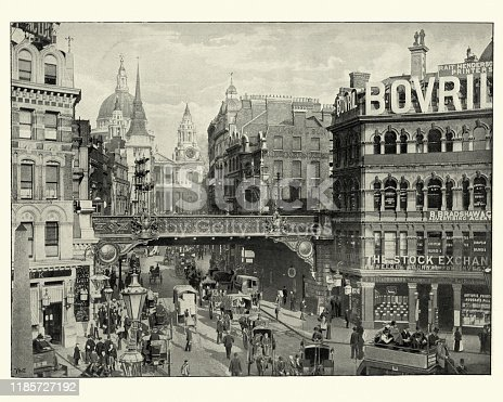Vintage photograph of Ludgate Circus, Victorian London, 19th Century. Ludgate Circus is a road junction in the City of London, Historically the main connection between the City of London and the City of Westminster