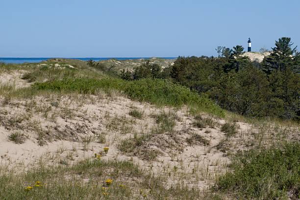 Ludington Dunes with Tiny Lighthouse stock photo