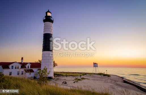 177362898 istock photo Ludington Lighthouse Lake Michigan Beach Background 879810340