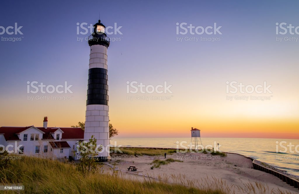 Ludington Lighthouse Lake Michigan Beach Background stock photo
