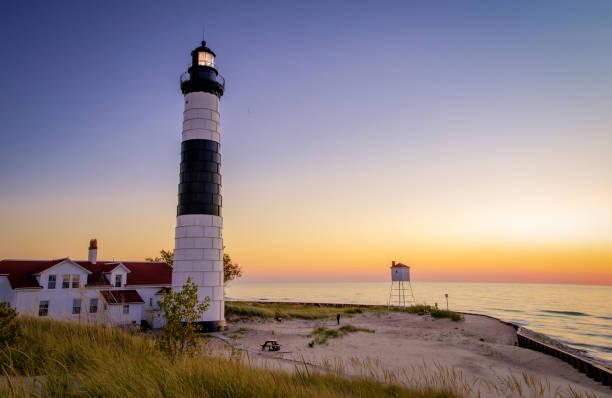ludington lighthouse lake michigan beach background - lake michigan stock pictures, royalty-free photos & images