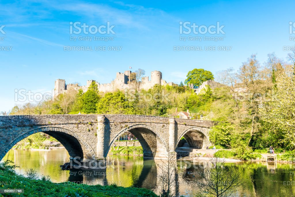Ludlow Castle and Dingham Bridge stock photo