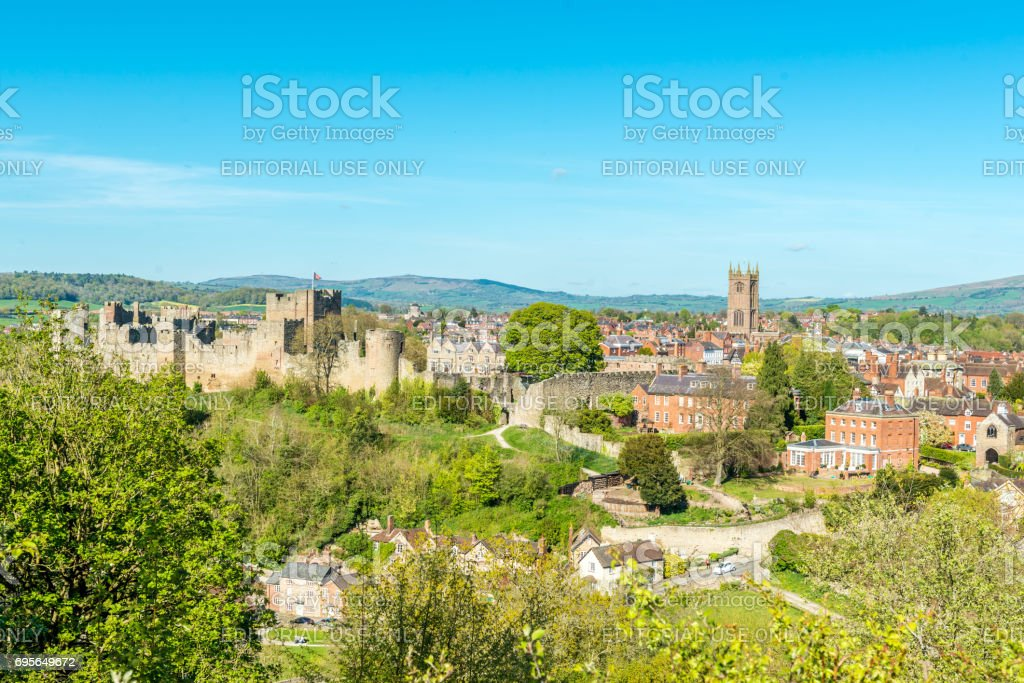 Ludlow Castle and tow stock photo