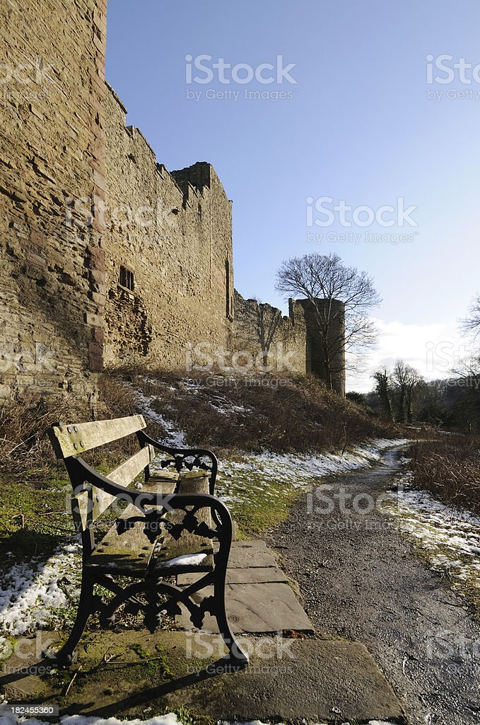 Ludlow Castle in Winter stock photo