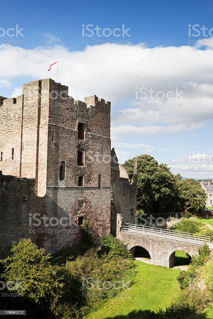 Ludlow Castle Tower and Moat stock photo