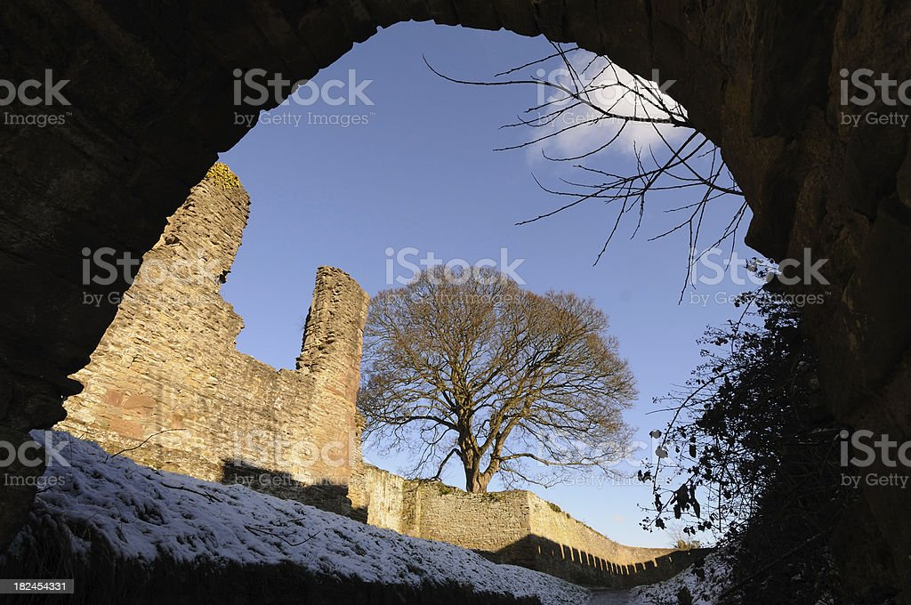 Ludlow Castle Walls stock photo
