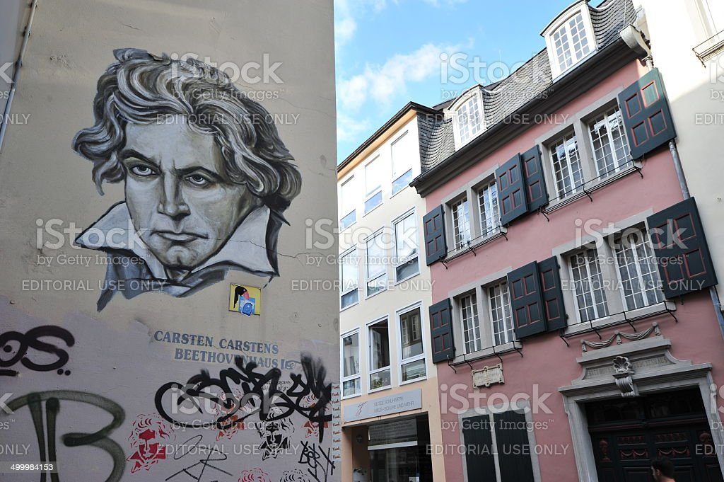 Ludwig van Beethoven Doodle and House of birth stock photo