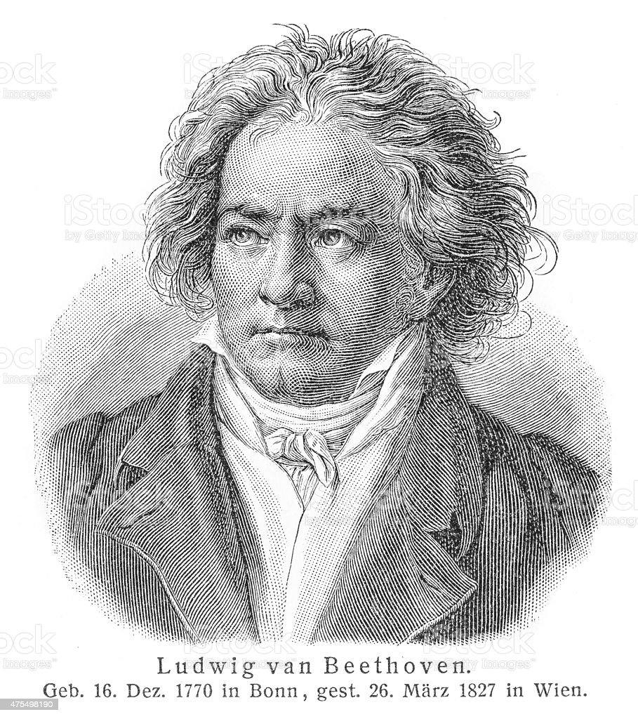 Ludwig van Beethoven engraving stock photo