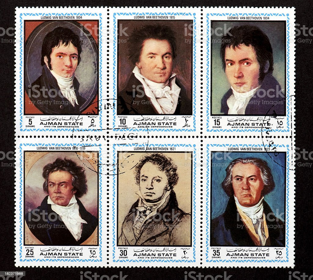 Ludwig van Beethoven (1823) postage stamp stock photo