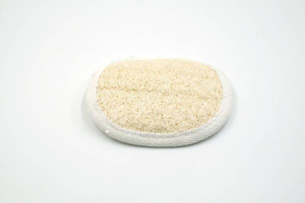 luffa scrubs auf weißem hintergrund - peeling bürste stock-fotos und bilder