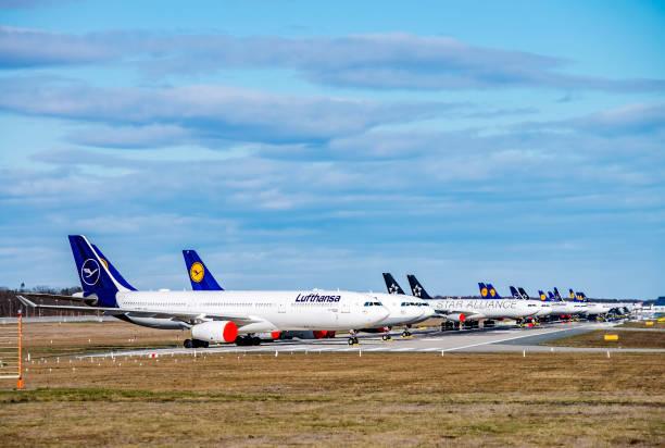 Lufthansa aircraft at Frankfurt Airport stock photo