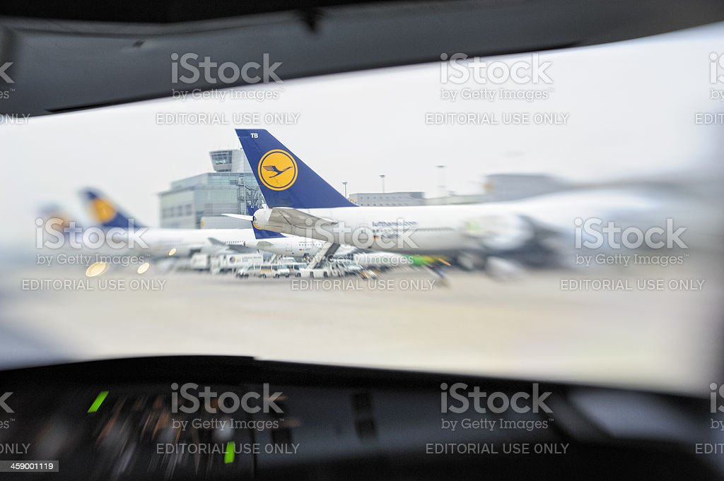 Lufthansa Aircraft at Frankfurt Airport stock photo