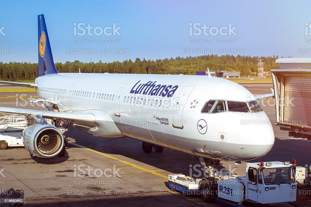 Lufthansa Aircraft at the ramp at Helsinki airport stock photo