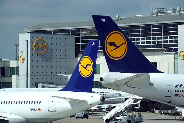 lufthansa aircrafts at frankfurt international airport - luchthaven frankfurt am main stockfoto's en -beelden