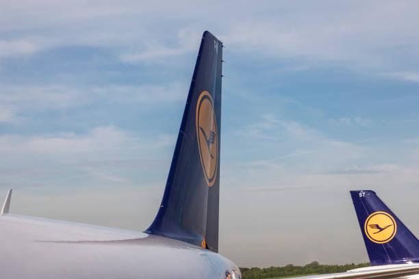Lufthansa aircrafts in Hamburg stock photo