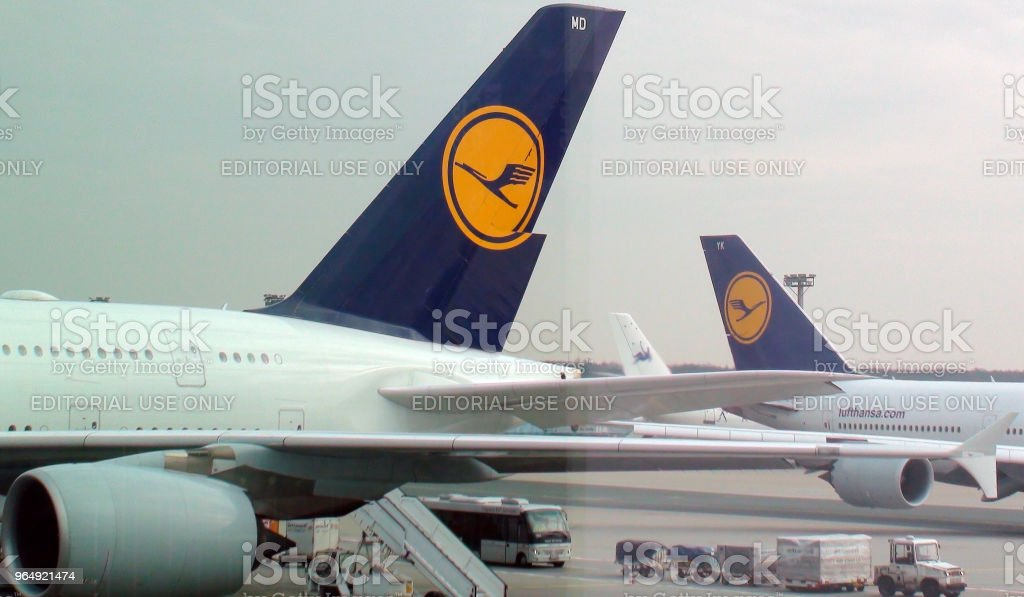 Lufthansa Airplane Tail View At Frankfurt International Airport Germany. Europe stock photo