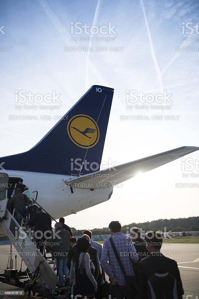 Lufthansa Boeing 737-300 tail fin close-up at Frankfurt Airport royalty-free stock photo