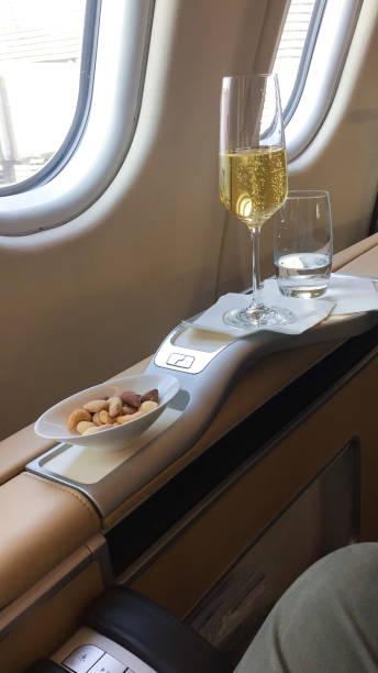 Lufthansa first class cabin stock photo