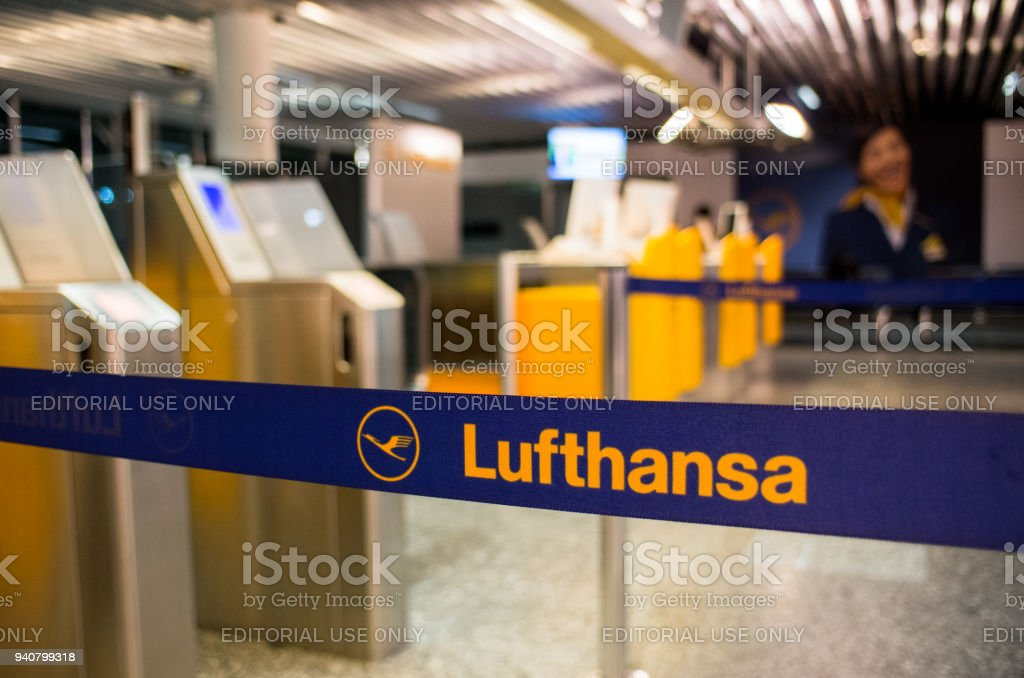 Lufthansa logo in Frankfurt am Main stock photo