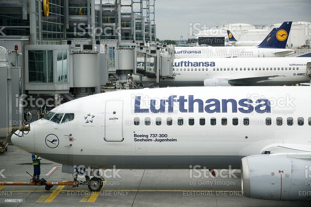 Lufthansa planes at Frankfurt airport royalty-free stock photo