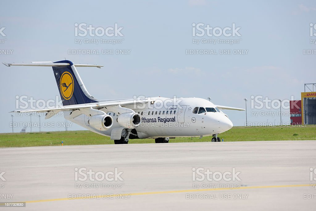Lufthansa Regional Jet Taxiing to Runway at Leipzig/Halle Airport stock photo