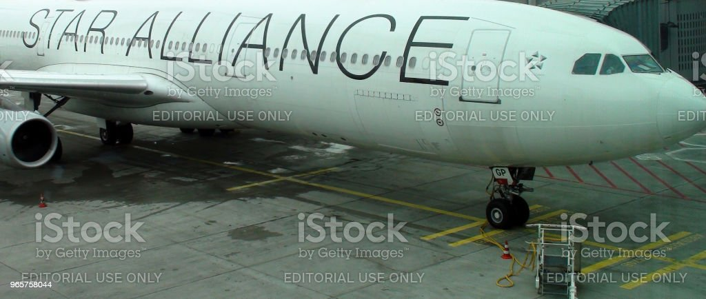 Lufthansa Star Alliance Airline Airplane Packed At Frankfurt International Airport Germany Europe - Royalty-free Aerospace Industry Stock Photo