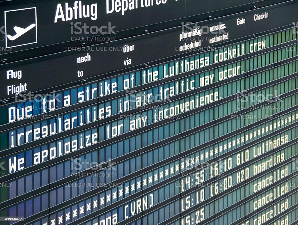 Lufthansa strike note on a information board stock photo